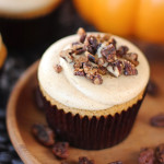 Pumpkin Pie Cupcakes Topped with Maple Buttered Pecans