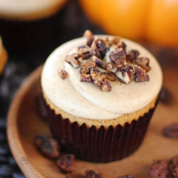 Pumpkin Cupcakes with Maple Buttered Pecans