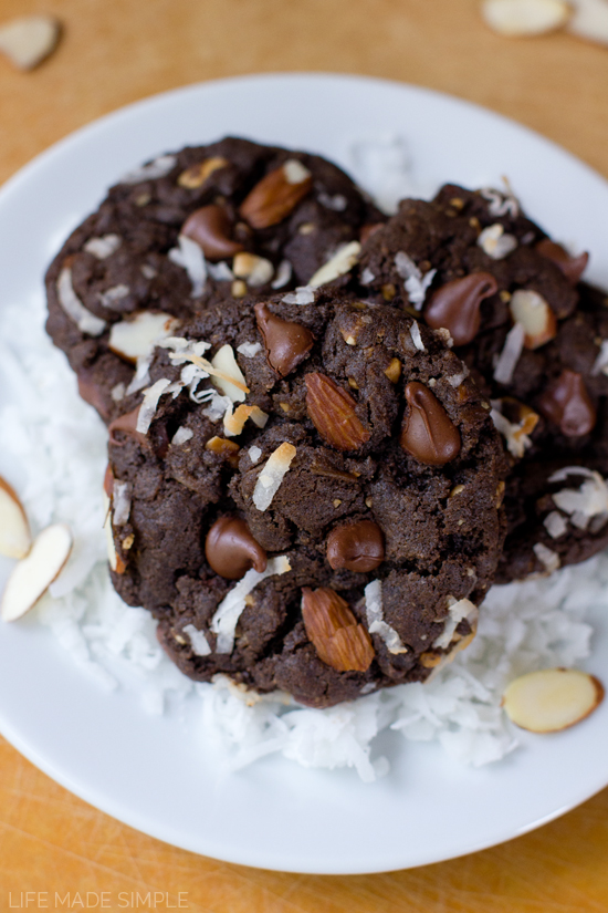Flourless Chocolate Almond Joy Cookies