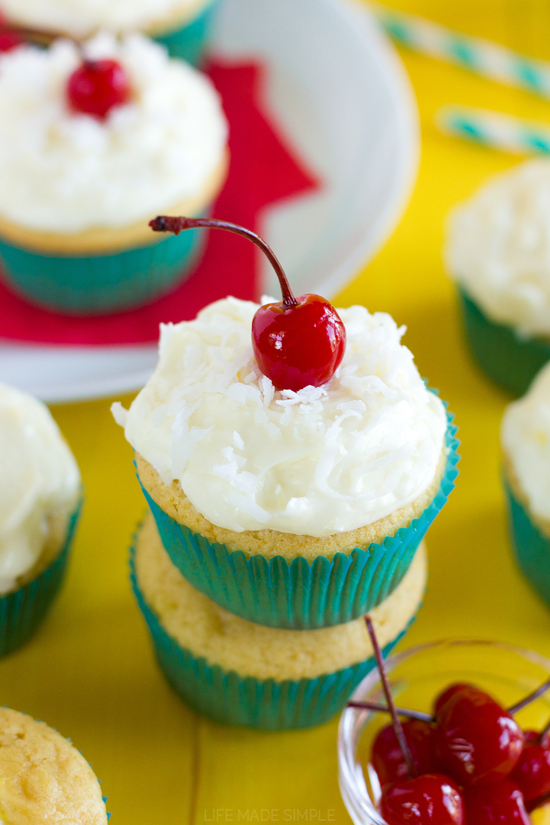 Piña Colada Cupcakes - Life Made Simple