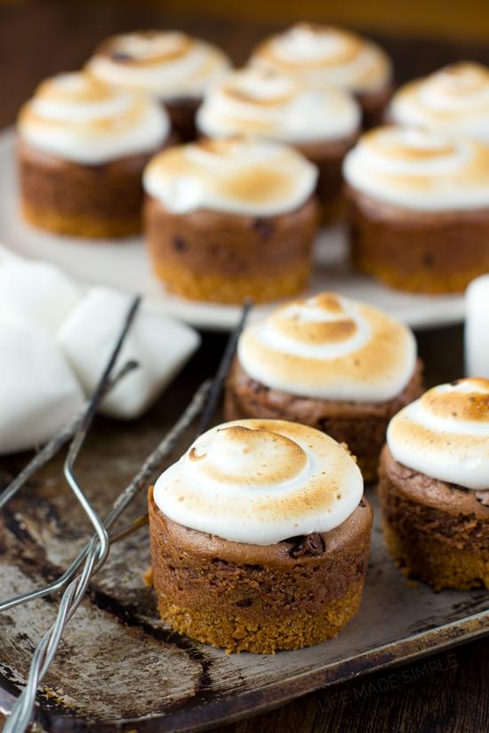Mini Nutella S'mores Cheesecakes