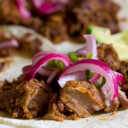 Citrus Stovetop Carnitas with Pickled Jalapeños and Red Onions