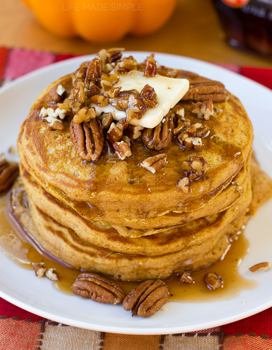 Pumpkin Pancakes with Buttered Pecan Maple Syrup