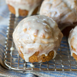 Healthy Pumpkin Doughnut Muffins with Maple Vanilla Bean Glaze