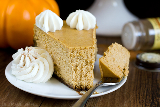 Pumpkin Pie Cheesecake with Gingersnap Crust - Life Made Simple