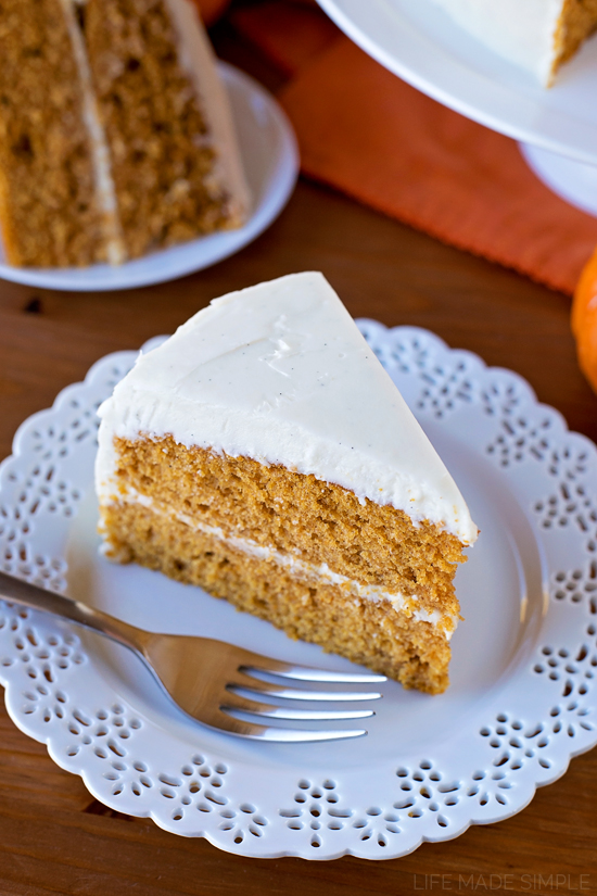 Pumpkin Layer Cake with Maple Vanilla Bean Frosting - Life Made Simple