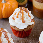 Spiced Pumpkin Cupcakes with Salted Caramel Cream Cheese Frosting