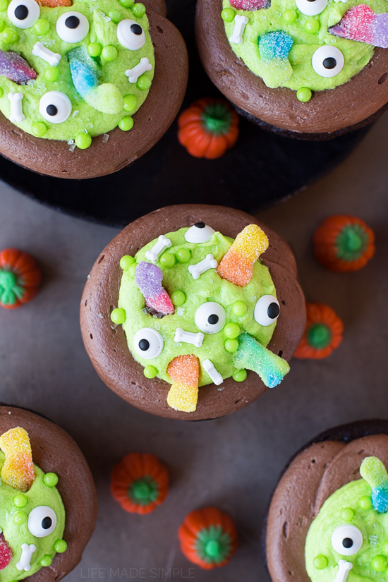 "Witch's Cauldron Chocolate Cupcakes with Orange ""Scream"" Filling"