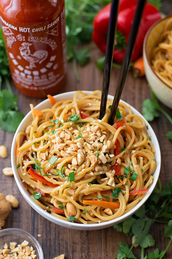 20-Minute Spicy Thai Noodle Bowls | Simple Thai Peanut Noodles