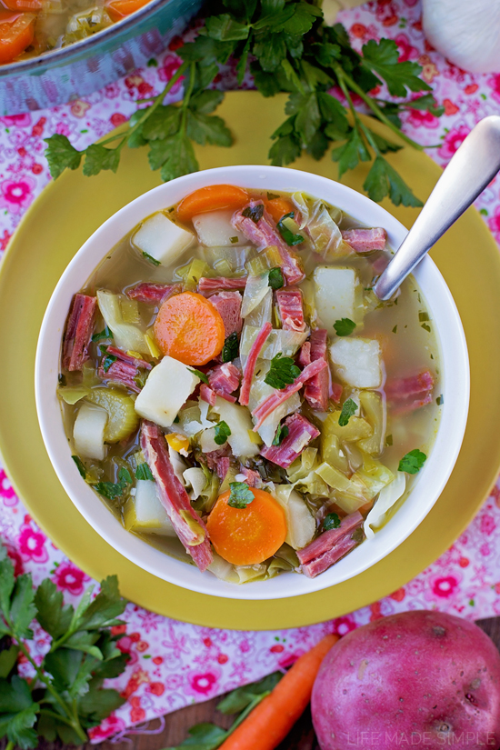 Leftover Corned Beef and Cabbage Soup