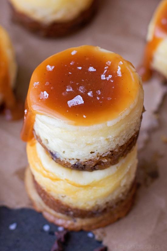 Mini Chocolate Chip Cookie Bottom Cheesecakes with Vanilla Bean Salted Caramel | lifemadesimplebakes.com