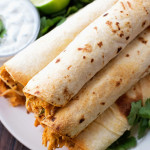 Creamy Oven Baked Chicken Taquitos