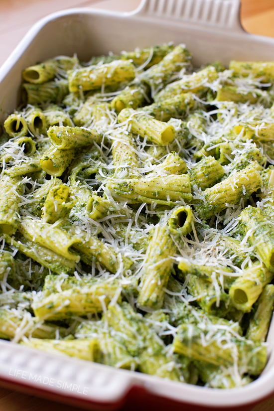 Kale, Spinach and Basil Pesto Baked Pasta