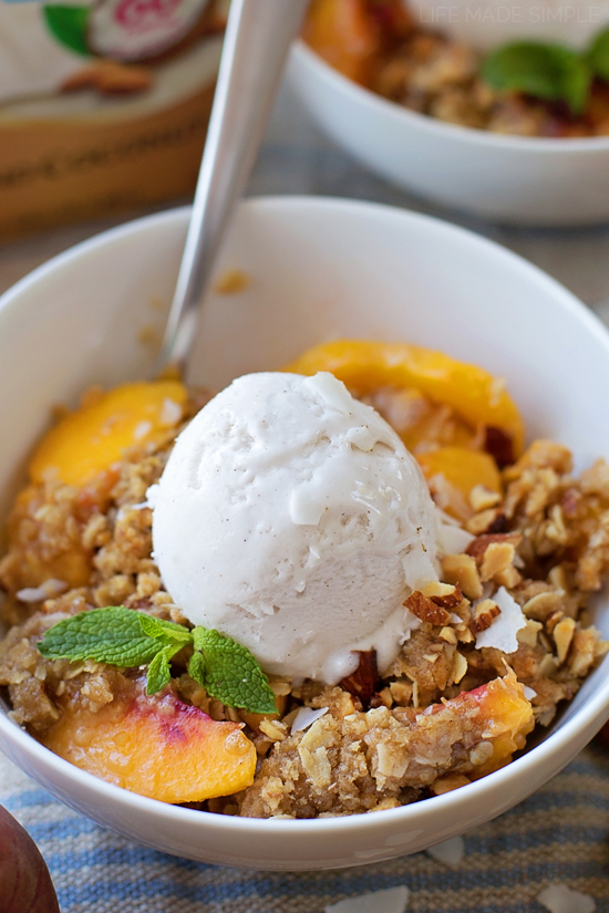 Peach Crisp with Almond Coconut Ice Cream