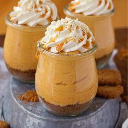 15 Minute Individual No-Bake Pumpkin Cheesecakes