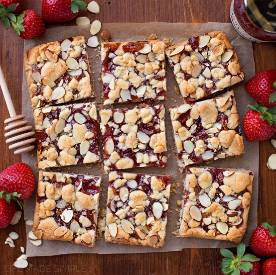 Strawberry Almond Shortbread Bars