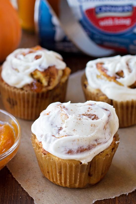 Pumpkin Cinnamon Roll Muffins