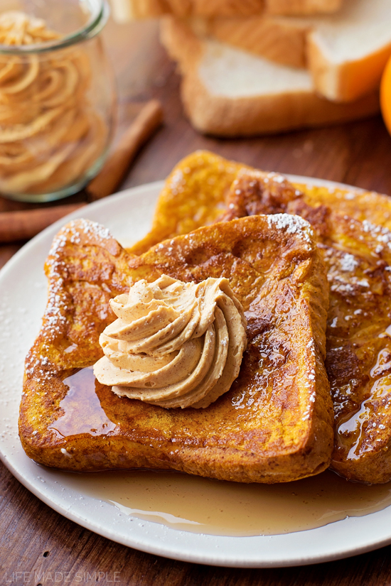 Pumpkin French Toast with Whipped Pumpkin Butter