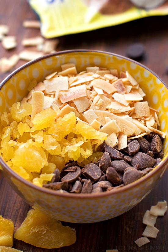 Dark Chocolate Tropical Granola Bars | lifemadesimplebakes.com
