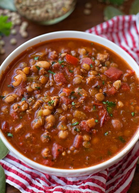 Lentil White Bean Chili   lifemadesimplebakes.com