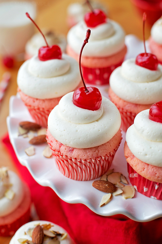 Cherry Almond Cupcakes | lifemadesimplebakes.com