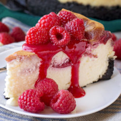 White Chocolate Raspberry Cheesecake | lifemadesimplebakes.com