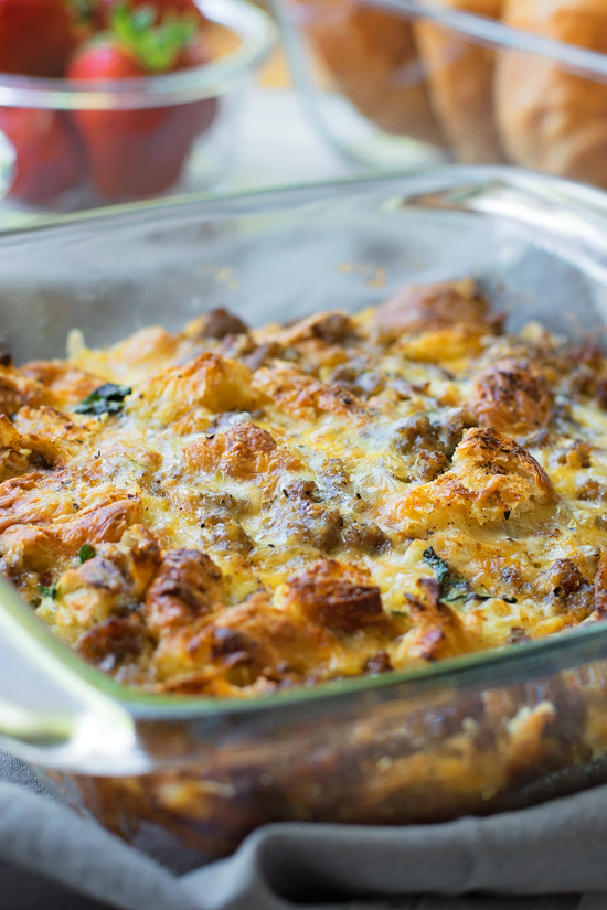 Overnight Sausage, Egg and Croissant Breakfast Bake | lifemadesimplebakes.com