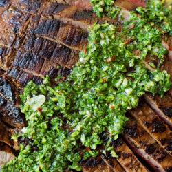 Grilled Flank Steak + 1 Minute Chimichurri Sauce | lifemadesimplebakes.com