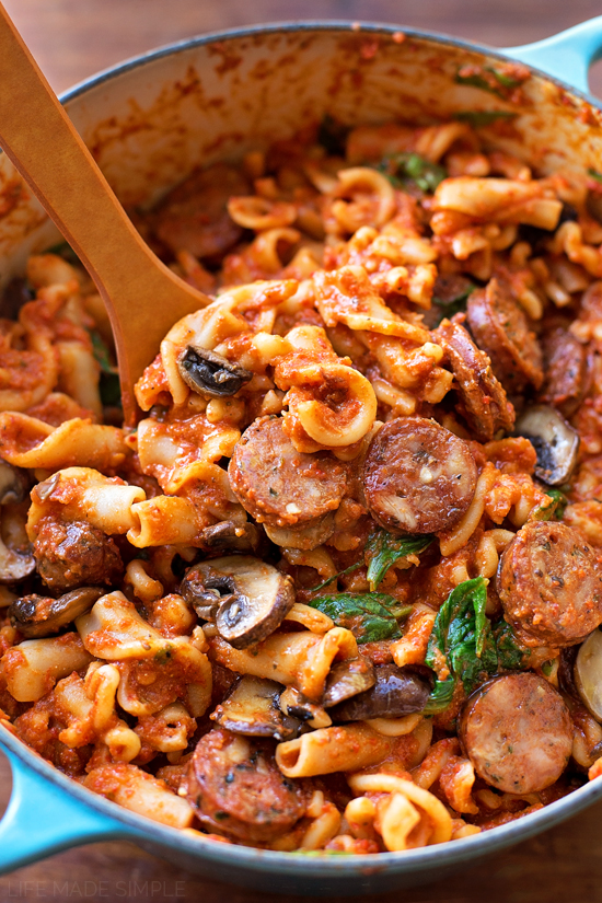 Mix in the sausage, mushroom and spinach mixture. Cook for 5 minutes ...