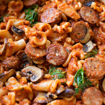 Sausage, Mushroom & Spinach Pasta with Red Pepper Sauce 9