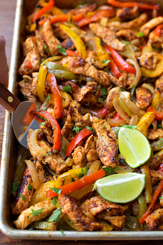 Sheet Pan Chicken Fajitas | lifemadesimplebakes.com
