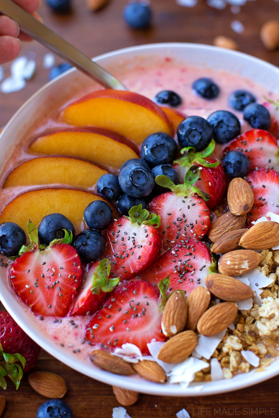 Berry, Peach and Coconut Smoothie Bowl | lifemadesimplebakes.com