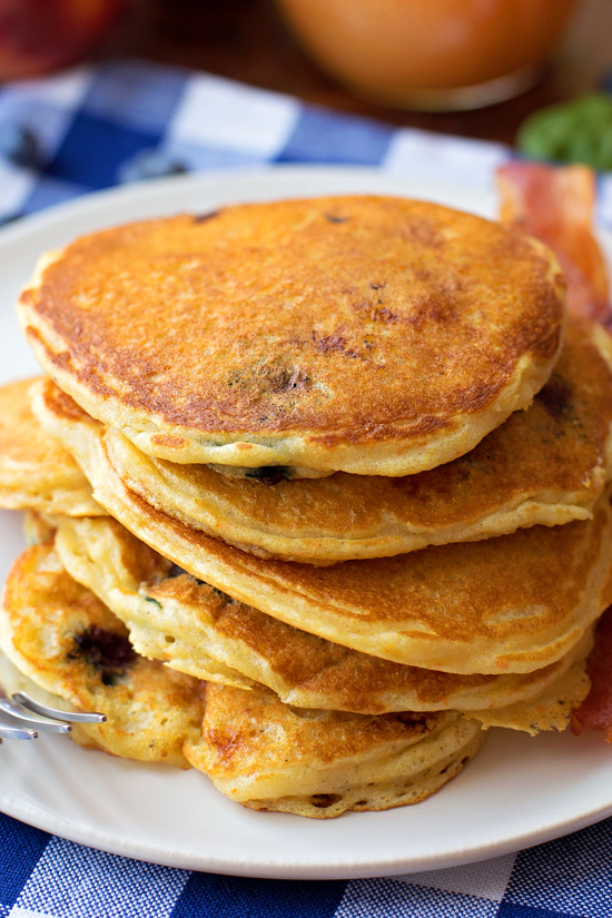 Blueberry Peach Cornmeal Pancakes - Life Made Simple