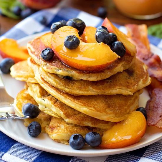 Blueberry Peach Cornmeal Pancakes - Life Made Simple