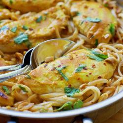 Chicken Satay Skillet | lifemadesimplebakes.com
