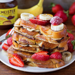 Chocolate Banana Stuffed French Toast | lifemadesimplebakes.com