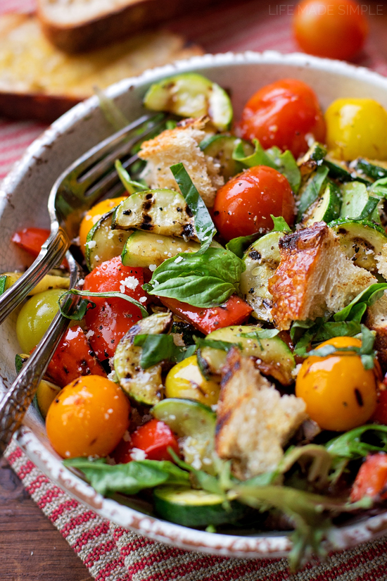 yet rustic Italian bread and tomato salad (grilled panzanella salad ...