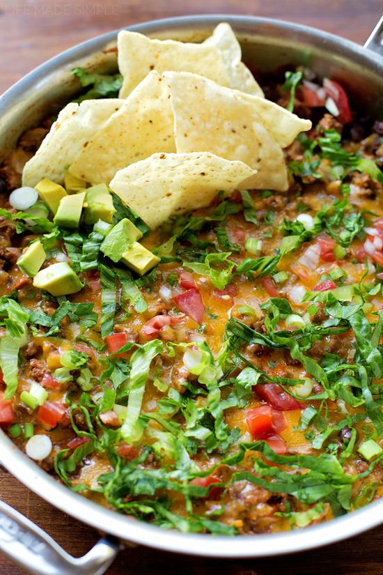 20 Minute Cheesy Taco Skillet | lifemadesimplebakes.com