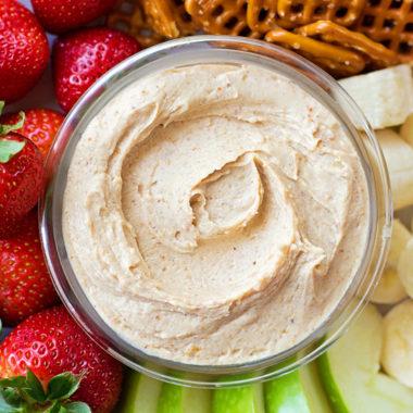 3-Ingredient Peanut Butter Yogurt Dip | lifemadesimplebakes.com