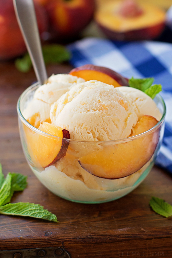 Buttermilk Peach Ice Cream | lifemadesimplebakes.com