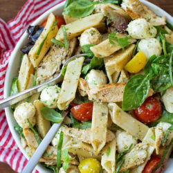 Chicken Caprese Pasta Salad with Pesto Dressing   lifemadesimplebakes.com