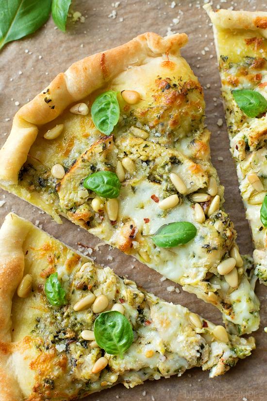 Pesto Chicken Pizza   lifemadesimplebakes.com