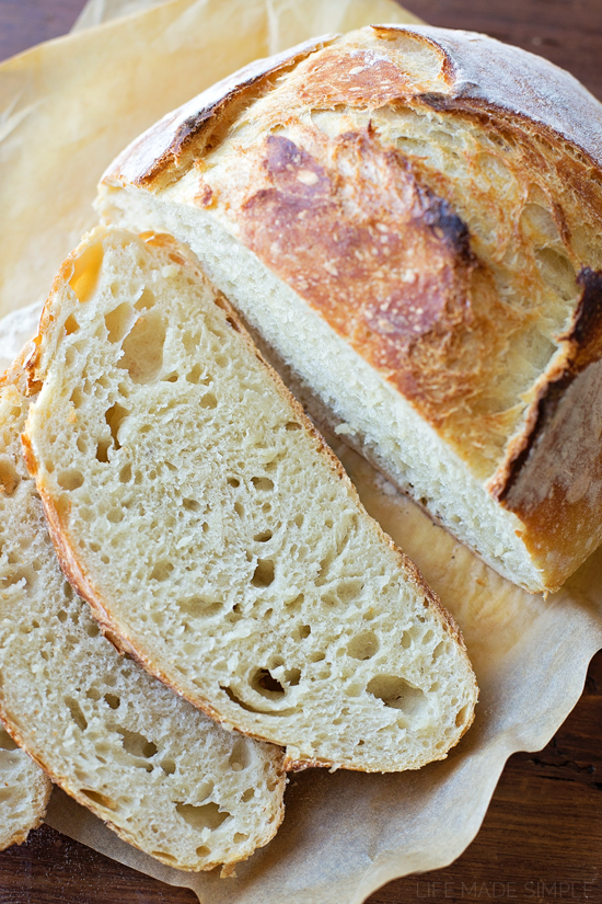 4 Ingredient No-Knead Artisan Bread | lifemadesimplebakes.com
