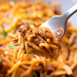 Stuffed Pepper Spaghetti Bake | lifemadesimplebakes.com