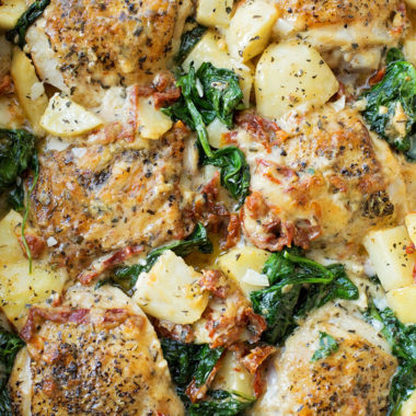 Creamy Tuscan Chicken and Potatoes | lifemadesimplebakes.com