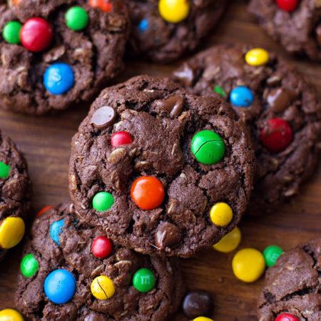 Dark Chocolate Monster Cookies   lifemadesimplebakes.com
