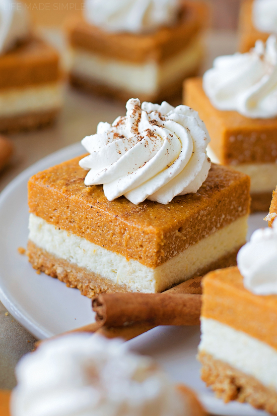 Layered Pumpkin Pie Cheesecake Bars | lifemadesimplebakes.com