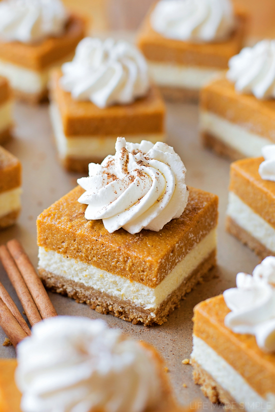Layered Pumpkin Pie Cheesecake Bars - Life Made Simple