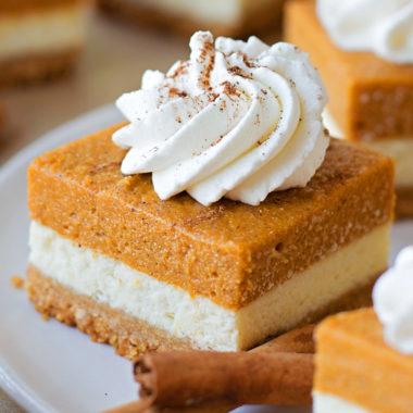 Layered Pumpkin Pie Cheesecake Bars | lifemadesimplebakes.com