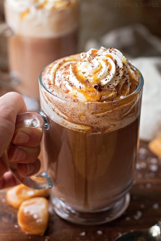 Salted Caramel Hot Cocoa | lifemadesimplebakes.com